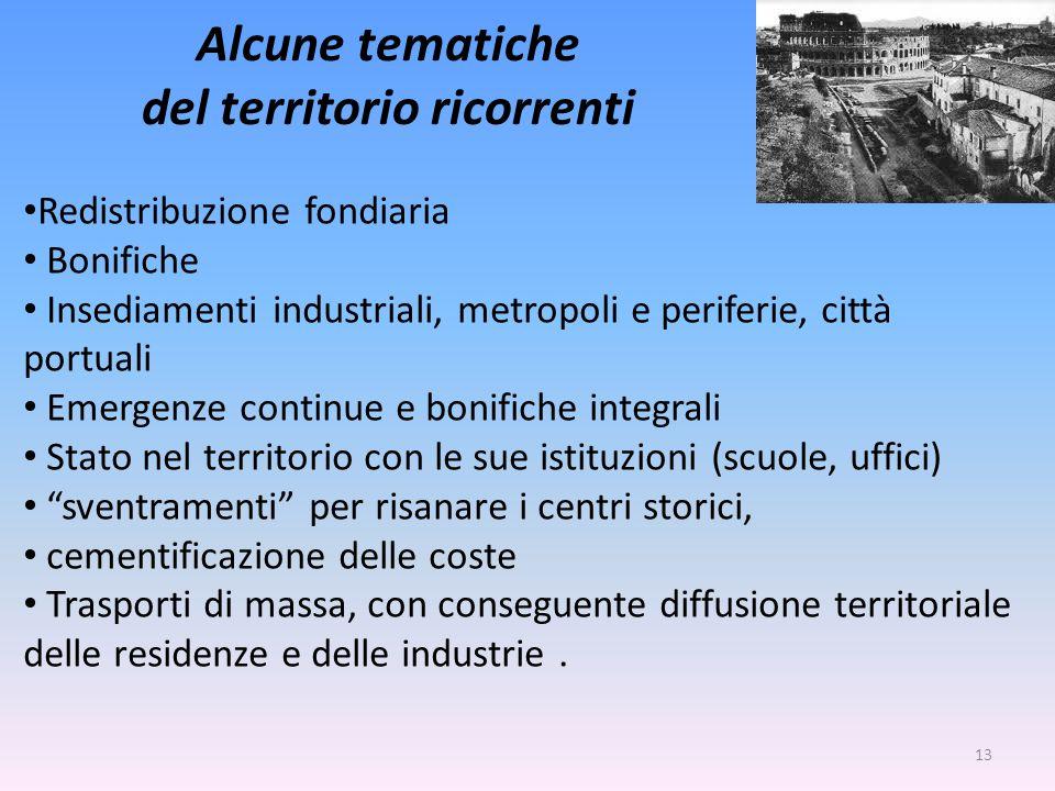 Alcune tematiche del territorio ricorrenti Redistribuzione fondiaria Bonifiche Insediamenti industriali, metropoli e periferie, città portuali Emergen