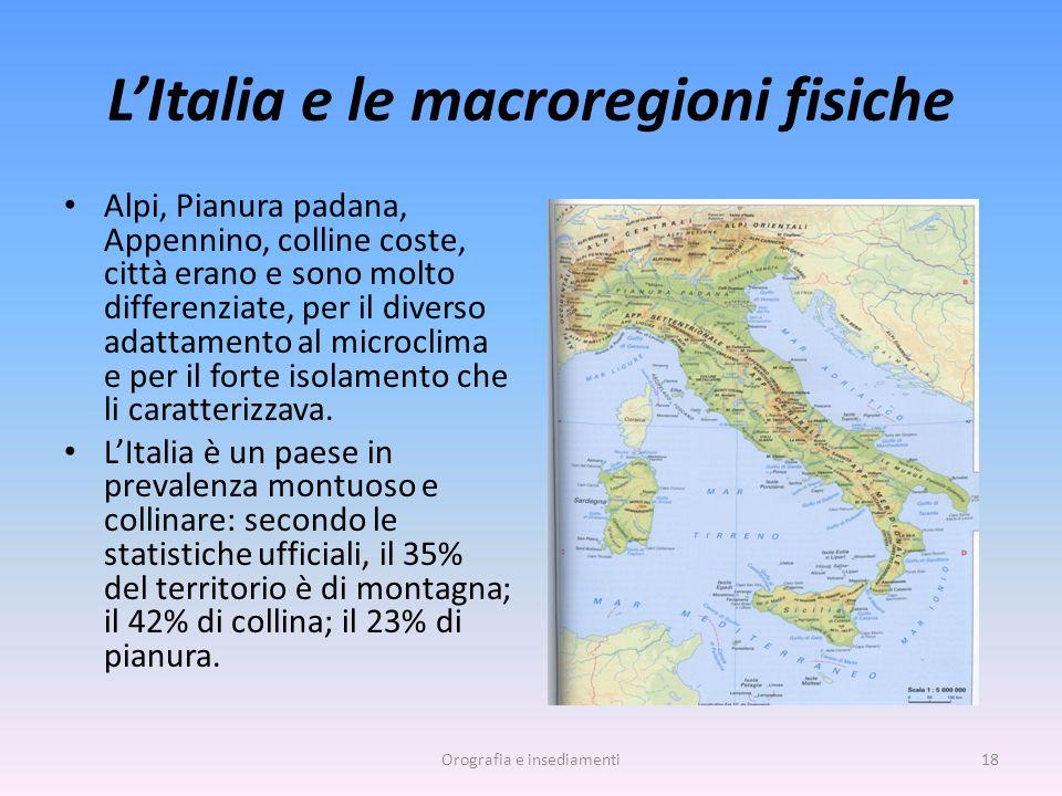 L'Italia e le macroregioni fisiche Alpi, Pianura padana, Appennino, colline coste, città erano e sono molto differenziate, per il diverso adattamento