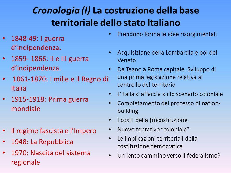 Cronologia (I) La costruzione della base territoriale dello stato Italiano 1848-49: I guerra d'indipendenza. 1859- 1866: II e III guerra d'indipendenz