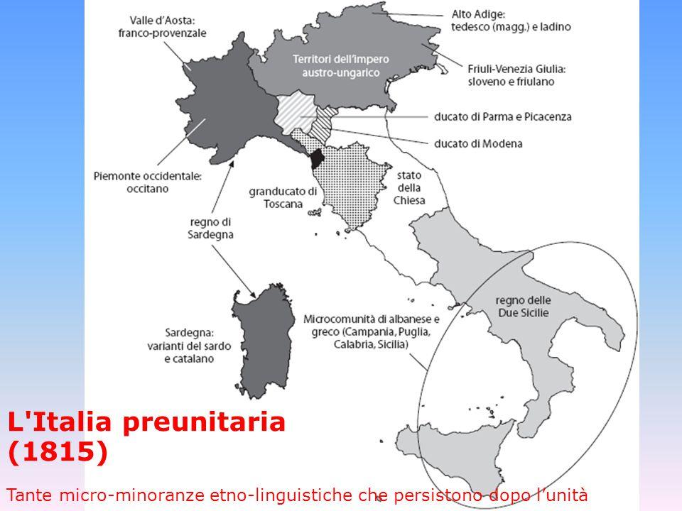 L'Italia preunitaria (1815)  Tante micro-minoranze etno-linguistiche che persistono dopo l'unità