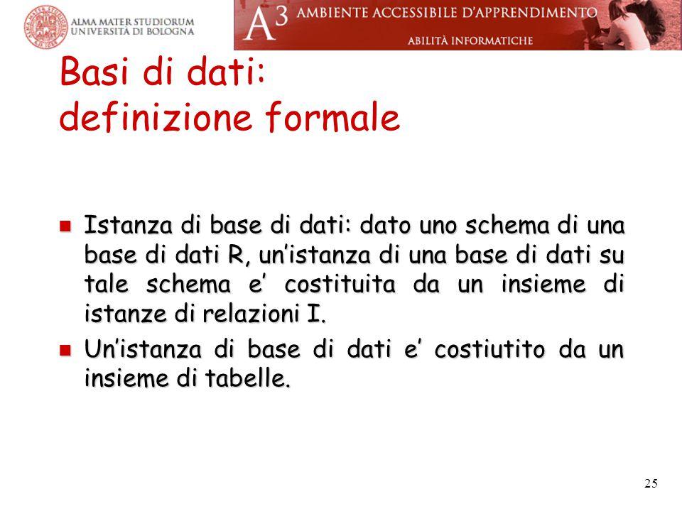 25 Basi di dati: definizione formale Istanza di base di dati: dato uno schema di una base di dati R, un'istanza di una base di dati su tale schema e'