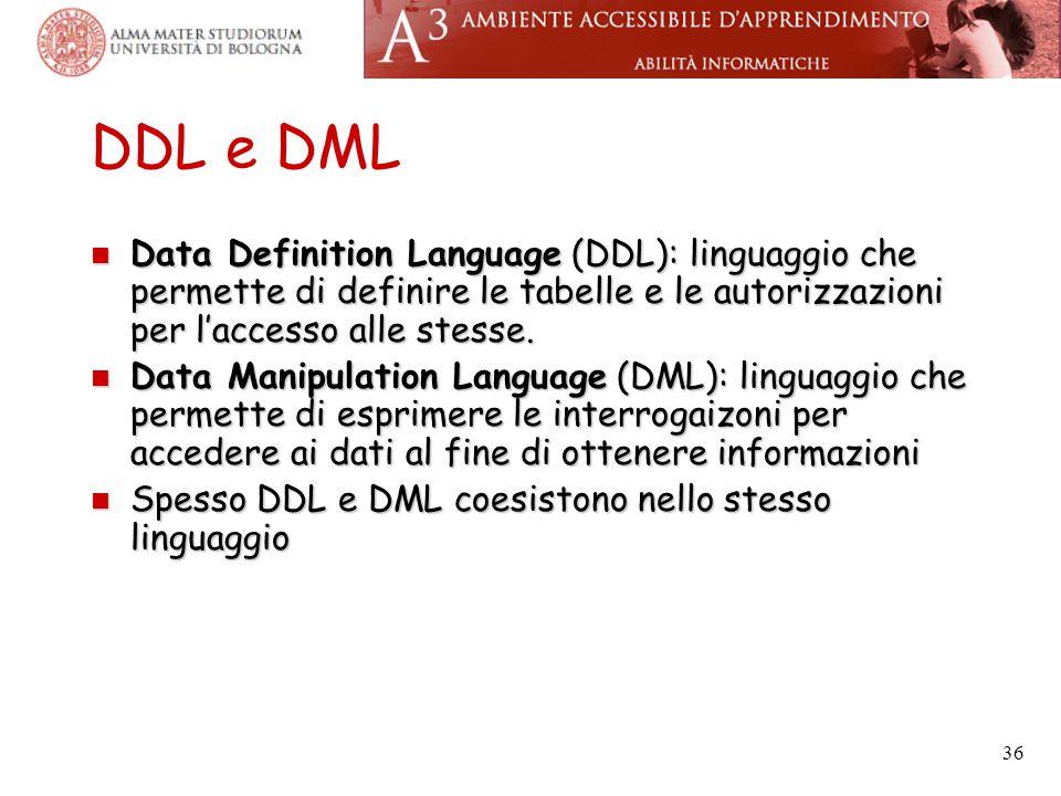 36 DDL e DML Data Definition Language (DDL): linguaggio che permette di definire le tabelle e le autorizzazioni per l'accesso alle stesse.