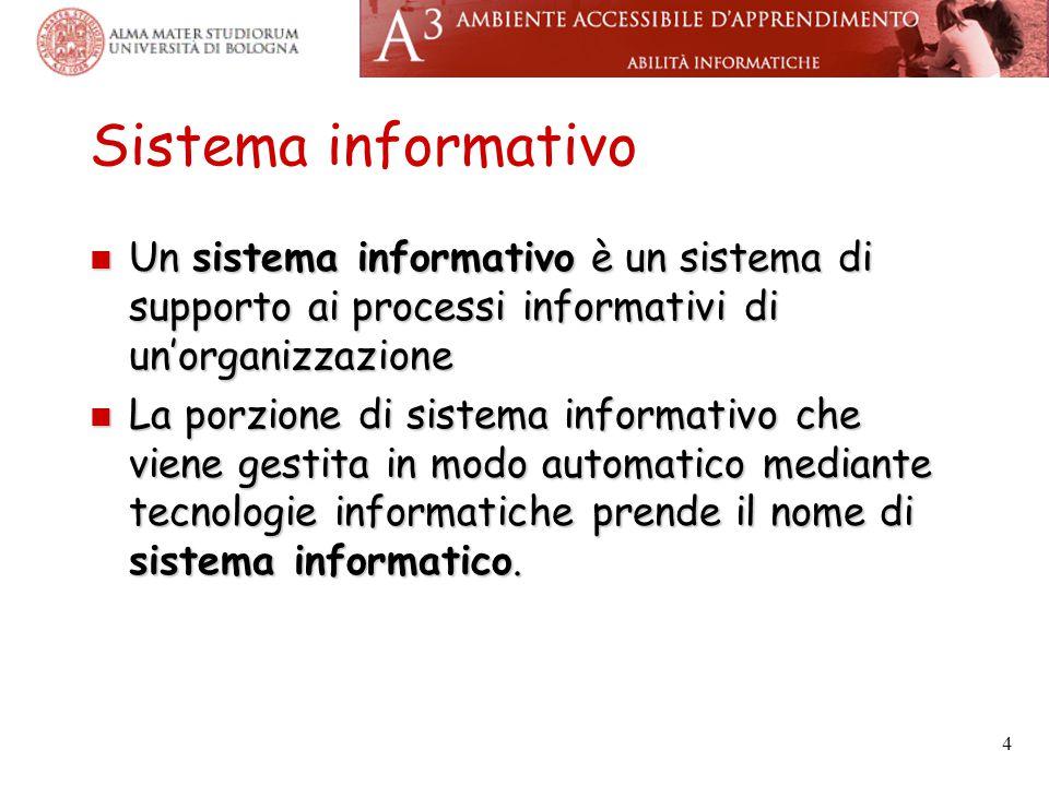 4 Sistema informativo Un sistema informativo è un sistema di supporto ai processi informativi di un'organizzazione Un sistema informativo è un sistema di supporto ai processi informativi di un'organizzazione La porzione di sistema informativo che viene gestita in modo automatico mediante tecnologie informatiche prende il nome di sistema informatico.
