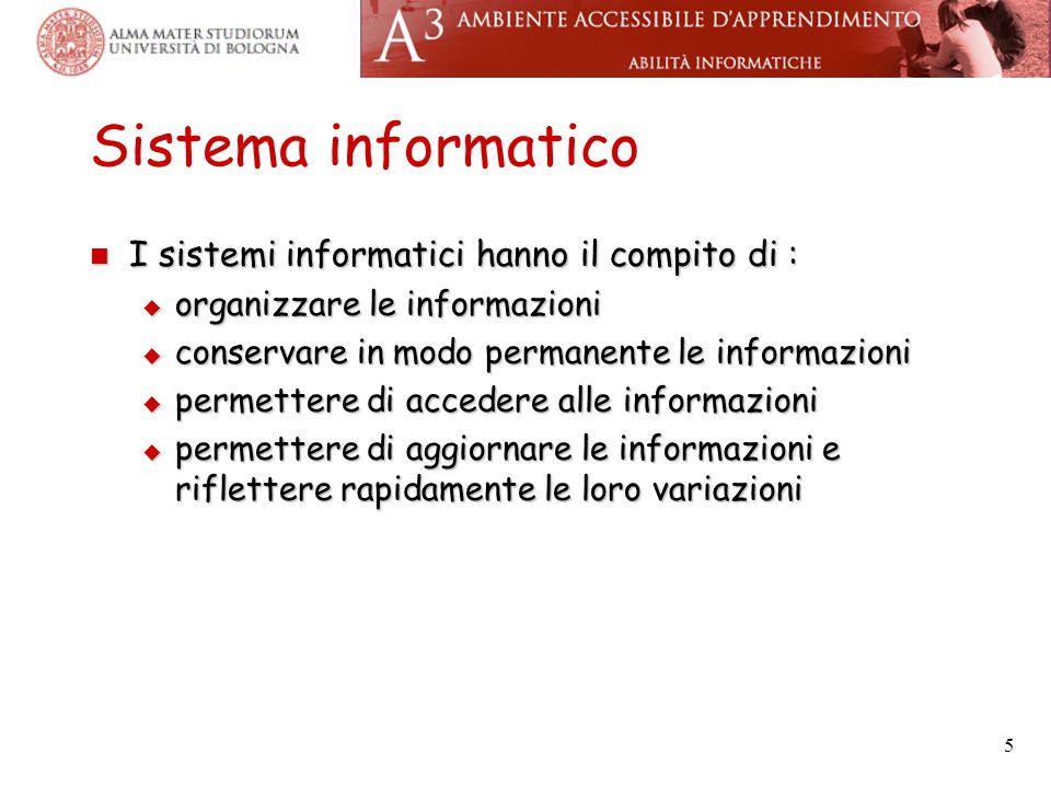 5 Sistema informatico I sistemi informatici hanno il compito di : I sistemi informatici hanno il compito di :  organizzare le informazioni  conservare in modo permanente le informazioni  permettere di accedere alle informazioni  permettere di aggiornare le informazioni e riflettere rapidamente le loro variazioni