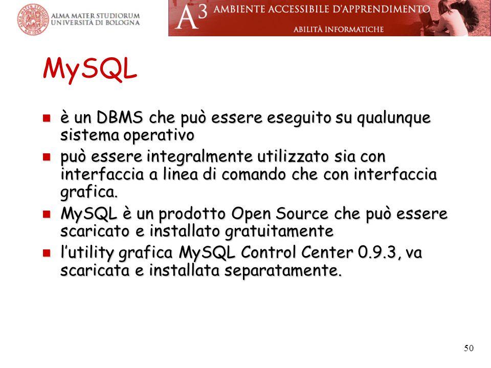 50 MySQL è un DBMS che può essere eseguito su qualunque sistema operativo è un DBMS che può essere eseguito su qualunque sistema operativo può essere integralmente utilizzato sia con interfaccia a linea di comando che con interfaccia grafica.