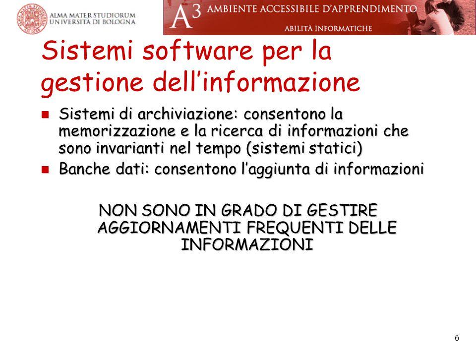 6 Sistemi software per la gestione dell'informazione Sistemi di archiviazione: consentono la memorizzazione e la ricerca di informazioni che sono invarianti nel tempo (sistemi statici) Sistemi di archiviazione: consentono la memorizzazione e la ricerca di informazioni che sono invarianti nel tempo (sistemi statici) Banche dati: consentono l'aggiunta di informazioni Banche dati: consentono l'aggiunta di informazioni NON SONO IN GRADO DI GESTIRE AGGIORNAMENTI FREQUENTI DELLE INFORMAZIONI