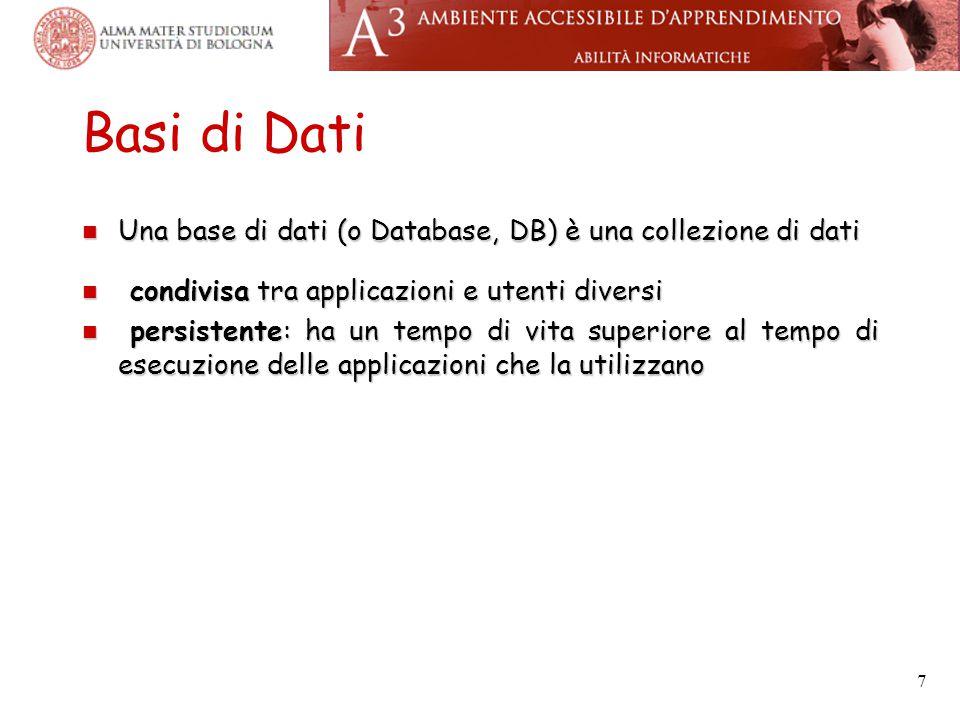 7 Basi di Dati Una base di dati (o Database, DB) è una collezione di dati Una base di dati (o Database, DB) è una collezione di dati condivisa tra applicazioni e utenti diversi condivisa tra applicazioni e utenti diversi persistente: ha un tempo di vita superiore al tempo di esecuzione delle applicazioni che la utilizzano persistente: ha un tempo di vita superiore al tempo di esecuzione delle applicazioni che la utilizzano