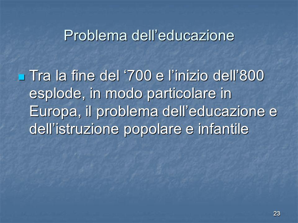 23 Problema dell'educazione Tra la fine del '700 e l'inizio dell'800 esplode, in modo particolare in Europa, il problema dell'educazione e dell'istruzione popolare e infantile Tra la fine del '700 e l'inizio dell'800 esplode, in modo particolare in Europa, il problema dell'educazione e dell'istruzione popolare e infantile