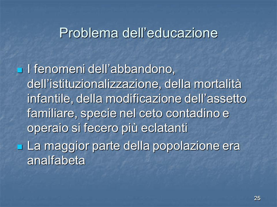 25 Problema dell'educazione I fenomeni dell'abbandono, dell'istituzionalizzazione, della mortalità infantile, della modificazione dell'assetto familia