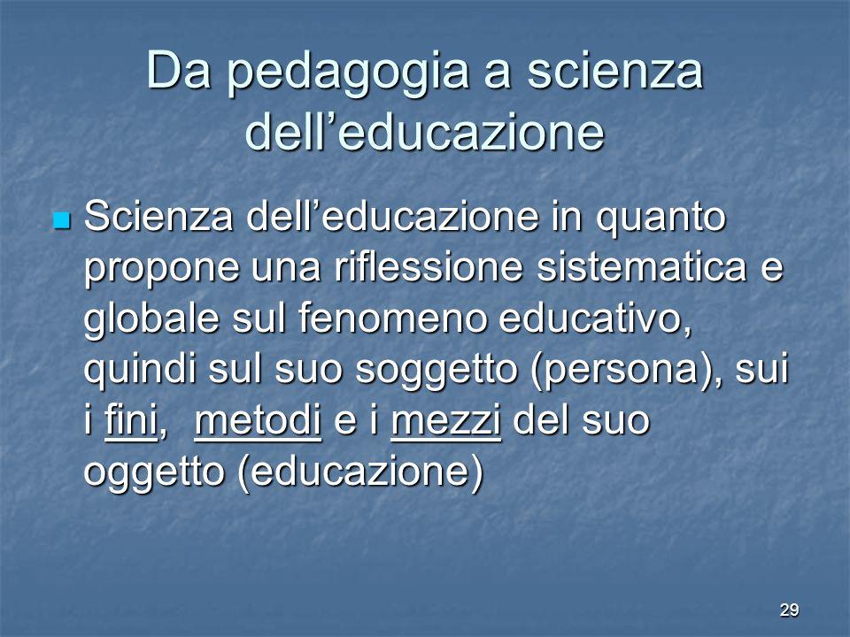 29 Da pedagogia a scienza dell'educazione Scienza dell'educazione in quanto propone una riflessione sistematica e globale sul fenomeno educativo, quin
