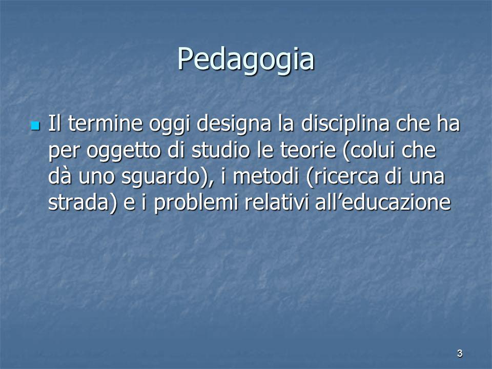 3 Pedagogia Il termine oggi designa la disciplina che ha per oggetto di studio le teorie (colui che dà uno sguardo), i metodi (ricerca di una strada)