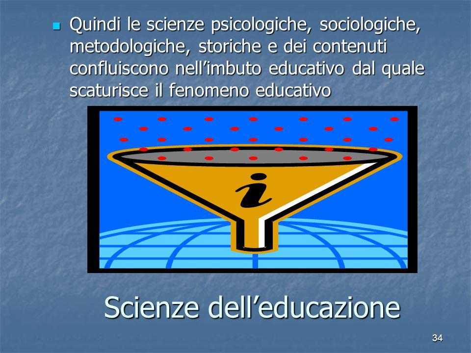 34 Scienze dell'educazione Quindi le scienze psicologiche, sociologiche, metodologiche, storiche e dei contenuti confluiscono nell'imbuto educativo dal quale scaturisce il fenomeno educativo Quindi le scienze psicologiche, sociologiche, metodologiche, storiche e dei contenuti confluiscono nell'imbuto educativo dal quale scaturisce il fenomeno educativo