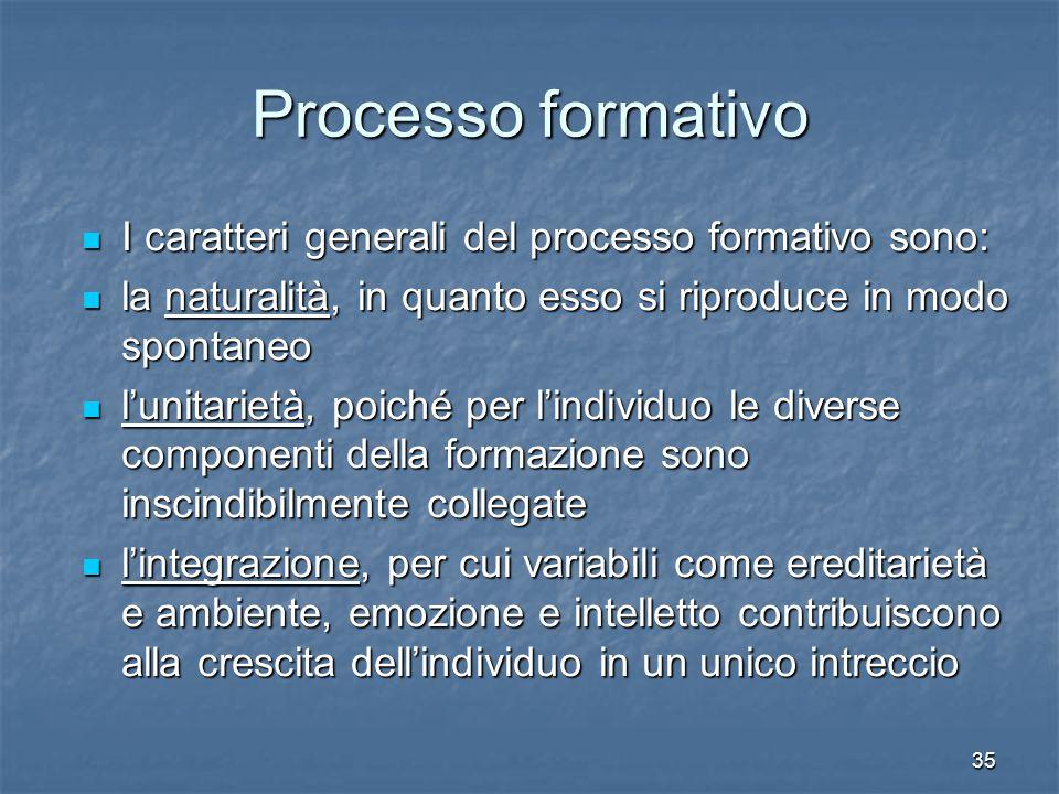 35 Processo formativo I caratteri generali del processo formativo sono: I caratteri generali del processo formativo sono: la naturalità, in quanto ess