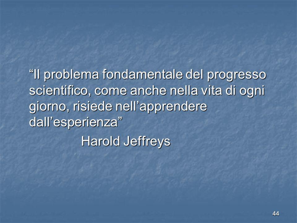 """44 """"Il problema fondamentale del progresso scientifico, come anche nella vita di ogni giorno, risiede nell'apprendere dall'esperienza"""" Harold Jeffreys"""