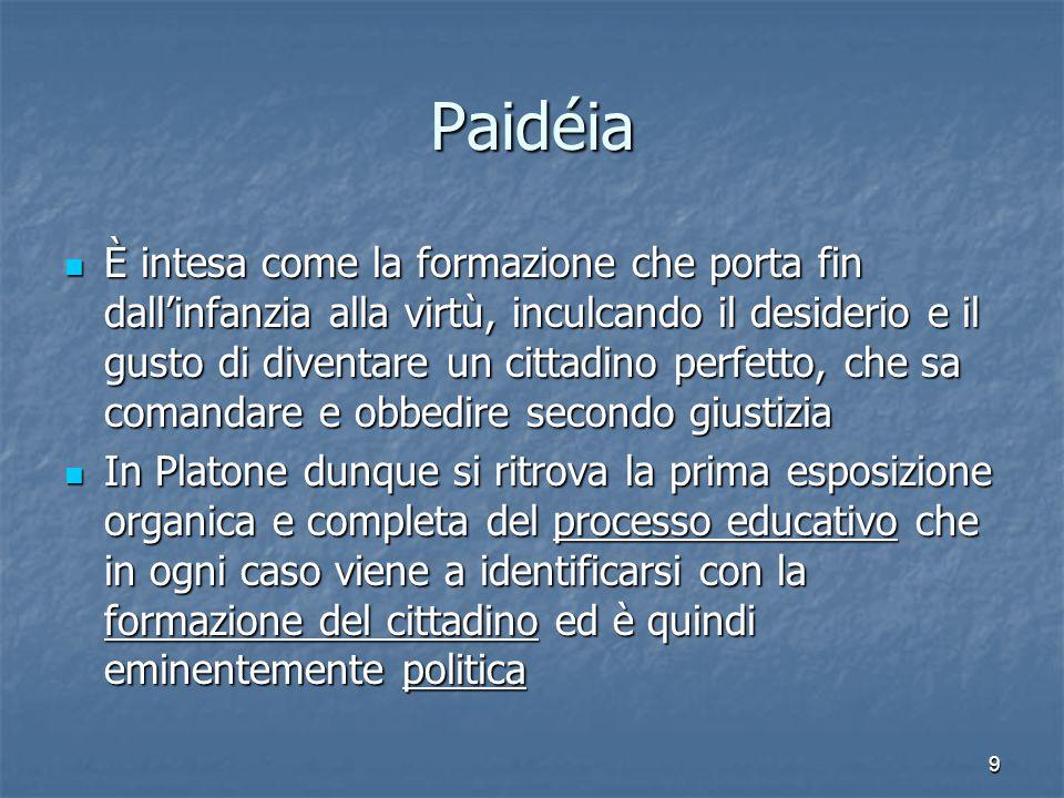 9 Paidéia È intesa come la formazione che porta fin dall'infanzia alla virtù, inculcando il desiderio e il gusto di diventare un cittadino perfetto, c