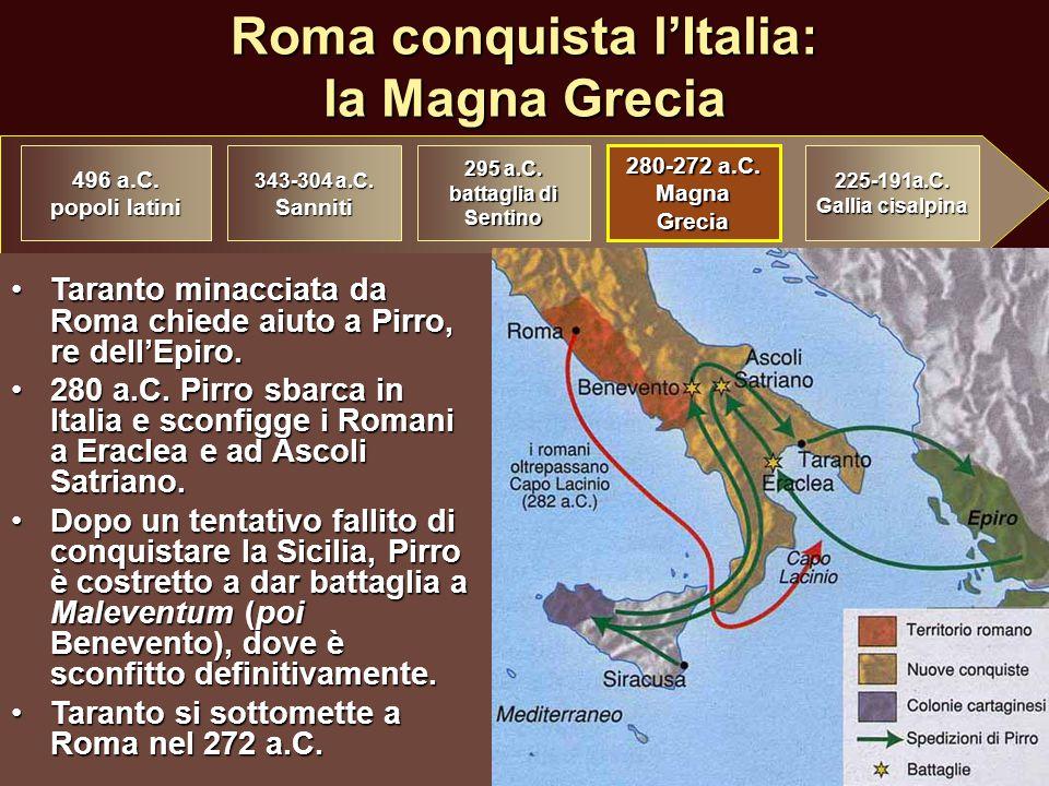 Roma conquista l'Italia: la Magna Grecia Taranto minacciata da Roma chiede aiuto a Pirro, re dell'Epiro.Taranto minacciata da Roma chiede aiuto a Pirr