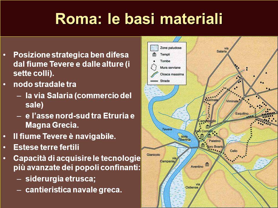 Roma: le basi materiali Posizione strategica ben difesa dal fiume Tevere e dalle alture (i sette colli). nodo stradale tra – –la via Salaria (commerci