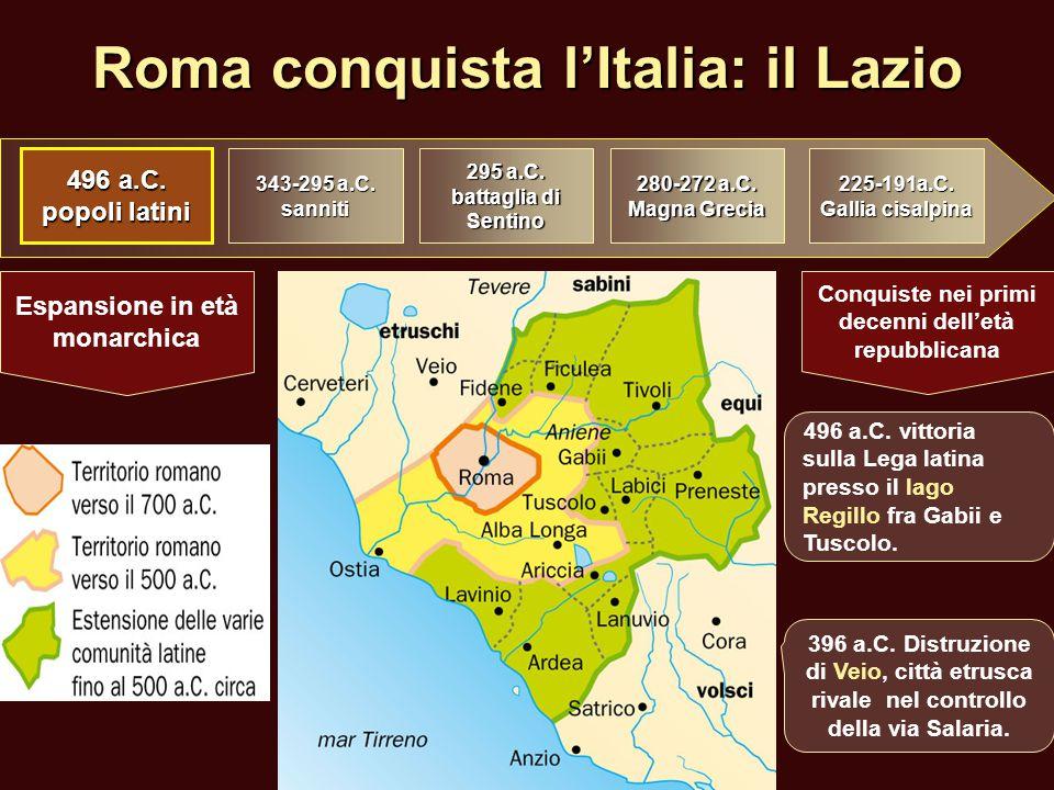 Roma conquista l'Italia: il Lazio 496 a.C. popoli latini 343-295 a.C. sanniti 295 a.C. battaglia di Sentino 280-272 a.C. Magna Grecia 225-191a.C. Gall