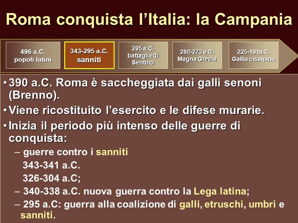 Roma conquista l'Italia: la Campania 390 a.C. Roma è saccheggiata dai galli senoni (Brenno).390 a.C. Roma è saccheggiata dai galli senoni (Brenno). Vi
