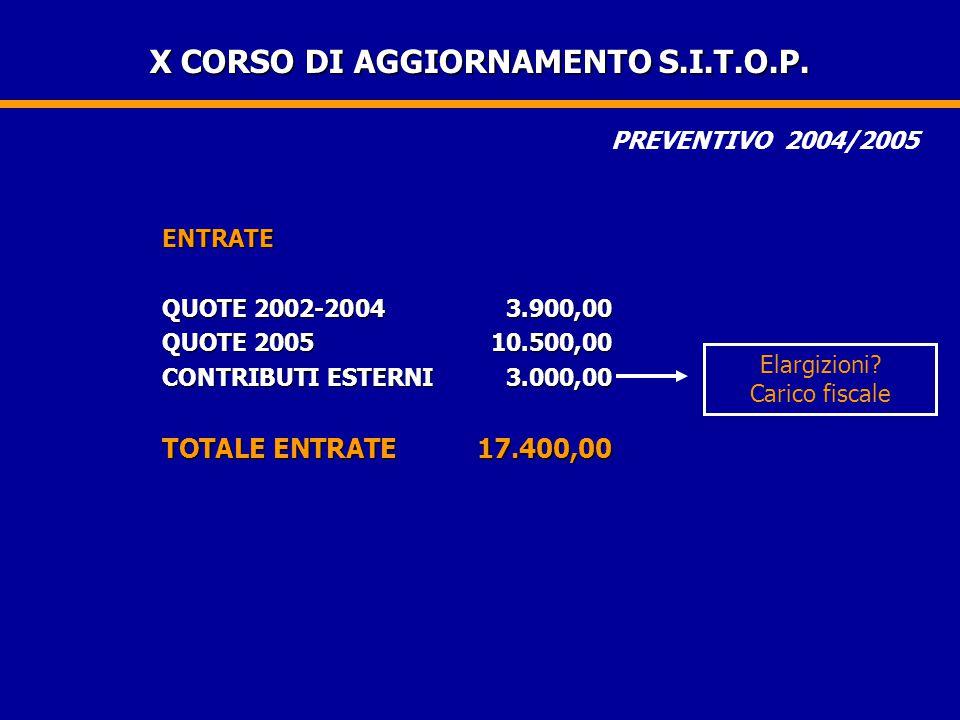 X CORSO DI AGGIORNAMENTO S.I.T.O.P.