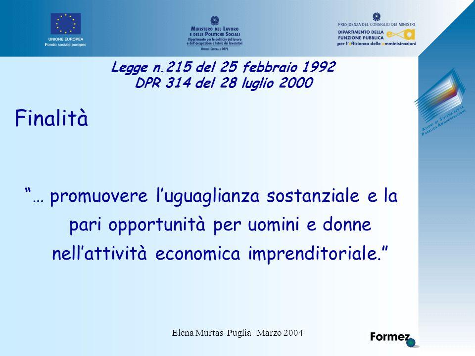 Elena Murtas Puglia Marzo 2004 Legge n.215 del 25 febbraio 1992 DPR 314 del 28 luglio 2000 Finalità … promuovere l'uguaglianza sostanziale e la pari opportunità per uomini e donne nell'attività economica imprenditoriale.