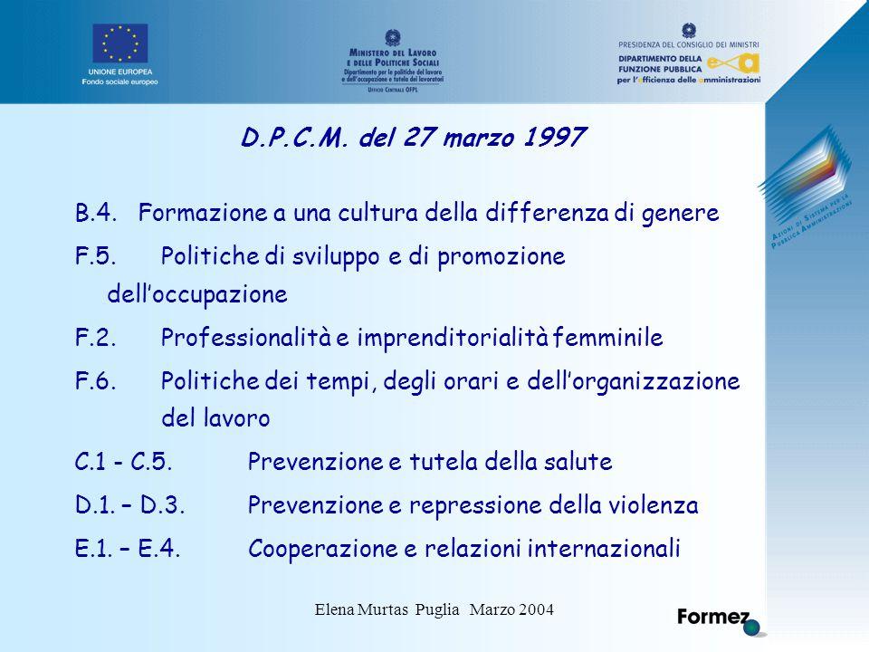 Elena Murtas Puglia Marzo 2004 D.P.C.M. del 27 marzo 1997 B.4.