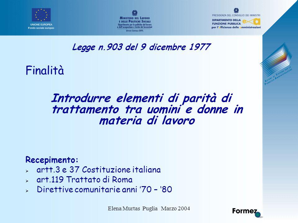 Elena Murtas Puglia Marzo 2004 Legge n.903 del 9 dicembre 1977 Finalità Introdurre elementi di parità di trattamento tra uomini e donne in materia di lavoro Recepimento:  artt.3 e 37 Costituzione italiana  art.119 Trattato di Roma  Direttive comunitarie anni '70 – '80