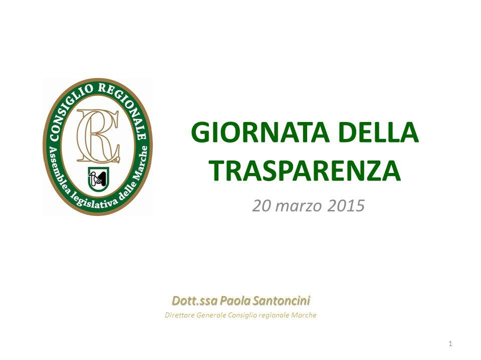 GIORNATA DELLA TRASPARENZA 20 marzo 2015 Dott.ssa Paola Santoncini Direttore Generale Consiglio regionale Marche 1