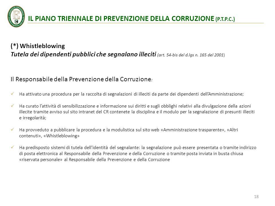 (*) Whistleblowing Tutela dei dipendenti pubblici che segnalano illeciti (art. 54-bis del d.lgs n. 165 del 2001) Il Responsabile della Prevenzione del