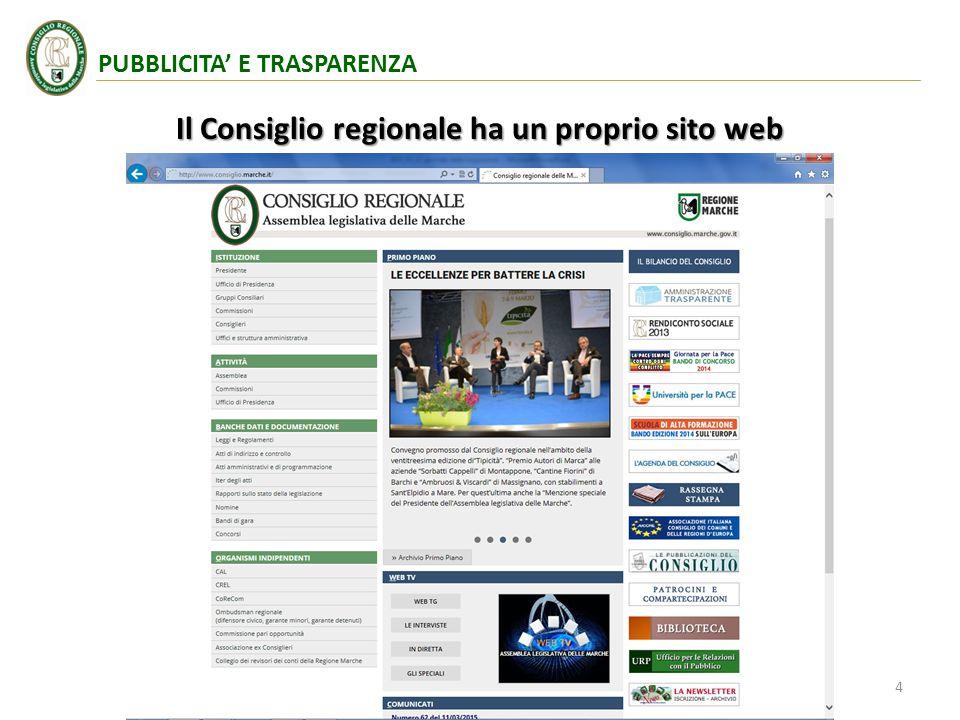 Il Consiglio regionale ha un proprio sito web 4 PUBBLICITA' E TRASPARENZA