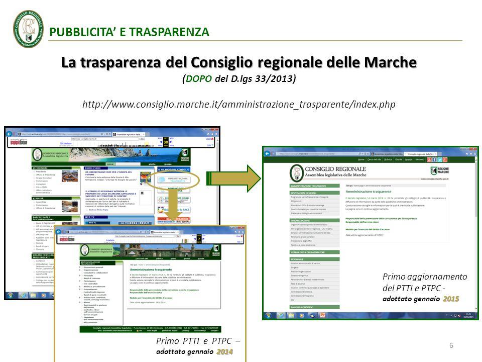 La trasparenza del Consiglio regionale delle Marche (DOPO del D.lgs 33/2013) http://www.consiglio.marche.it/amministrazione_trasparente/index.php 2014