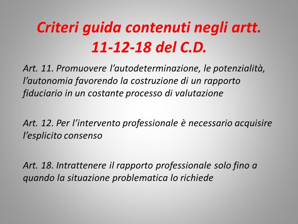 Criteri guida contenuti negli artt. 11-12-18 del C.D.