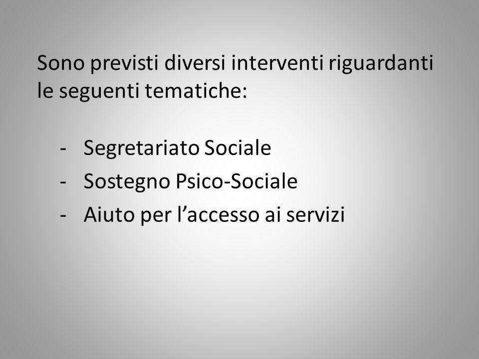 Sono previsti diversi interventi riguardanti le seguenti tematiche: -Segretariato Sociale -Sostegno Psico-Sociale -Aiuto per l'accesso ai servizi
