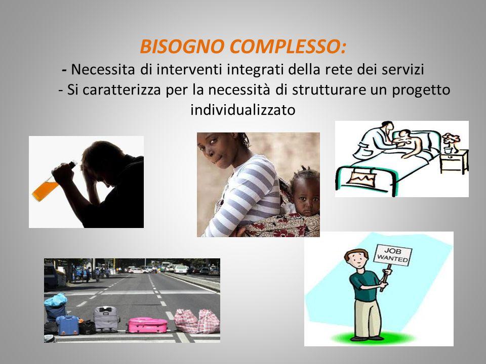 BISOGNO COMPLESSO: - Necessita di interventi integrati della rete dei servizi - Si caratterizza per la necessità di strutturare un progetto individualizzato