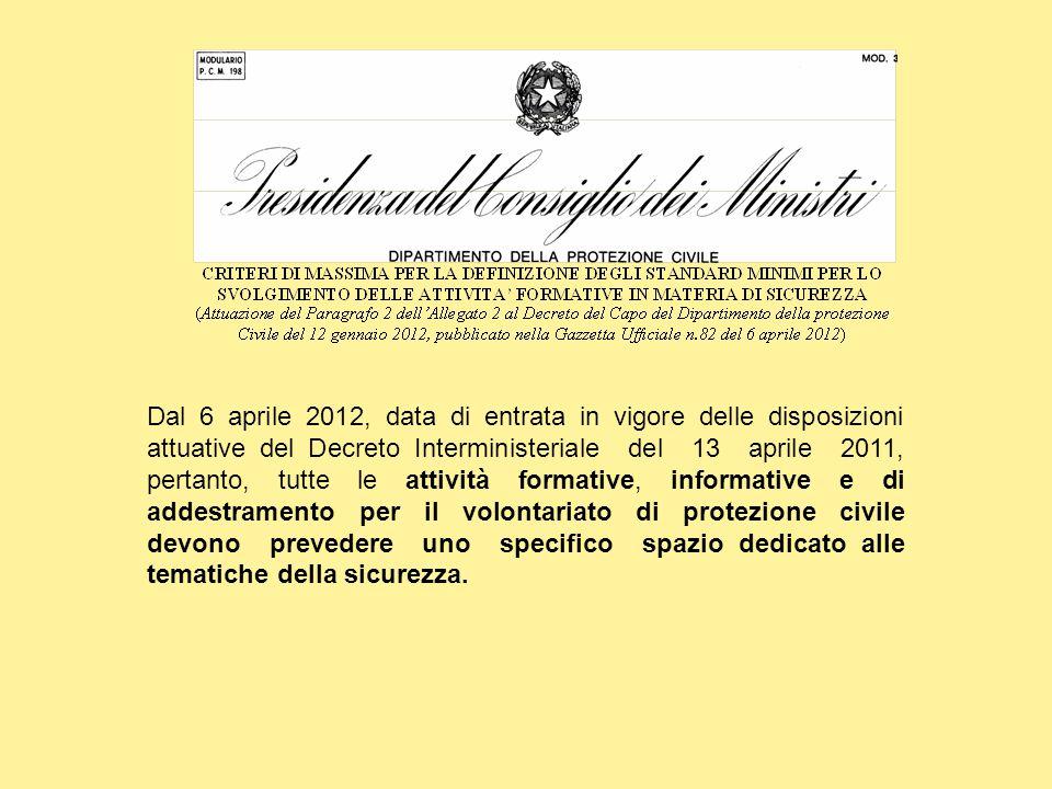 Dal 6 aprile 2012, data di entrata in vigore delle disposizioni attuative del Decreto Interministeriale del 13 aprile 2011, pertanto, tutte le attivit
