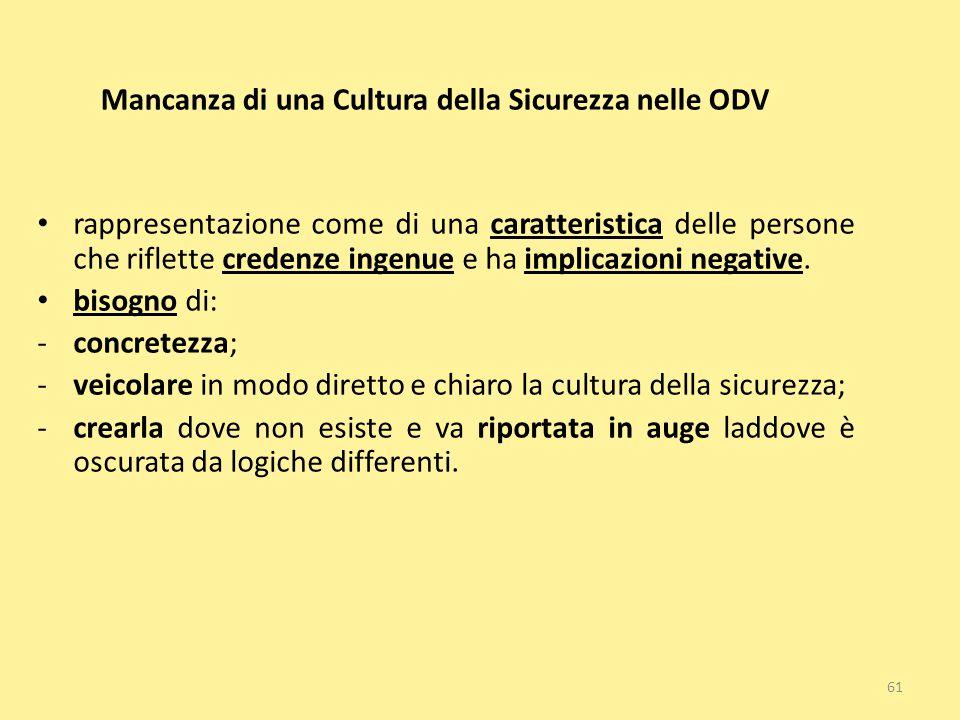 61 Mancanza di una Cultura della Sicurezza nelle ODV rappresentazione come di una caratteristica delle persone che riflette credenze ingenue e ha impl