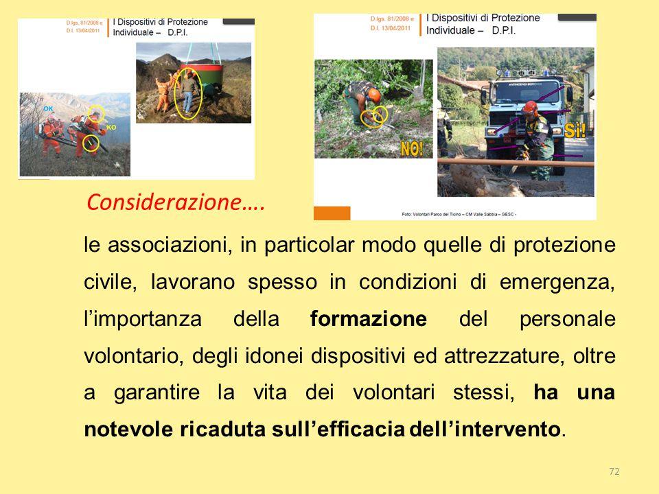 72 Considerazione…. le associazioni, in particolar modo quelle di protezione civile, lavorano spesso in condizioni di emergenza, l'importanza della fo