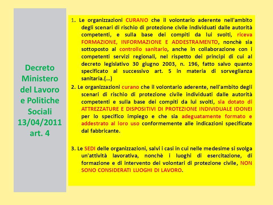 Decreto Ministero del Lavoro e Politiche Sociali 13/04/2011 art. 4 1. Le organizzazioni CURANO che il volontario aderente nell'ambito degli scenari di