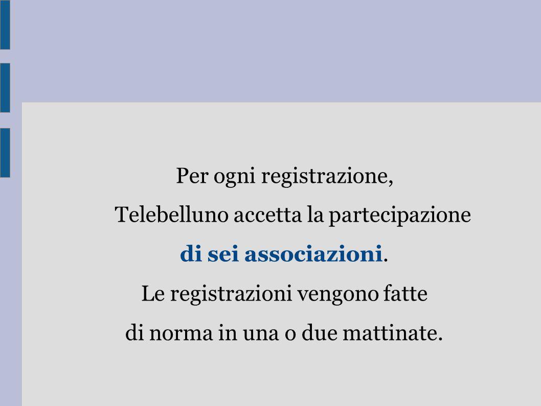 Per ogni registrazione, Telebelluno accetta la partecipazione di sei associazioni.