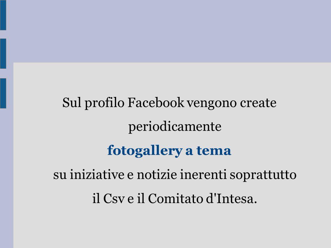 Sul profilo Facebook vengono create periodicamente fotogallery a tema su iniziative e notizie inerenti soprattutto il Csv e il Comitato d Intesa.