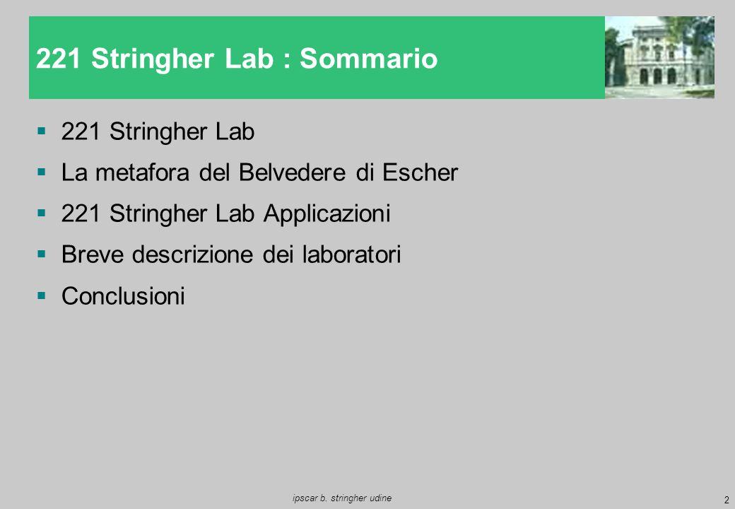 2 ipscar b. stringher udine  221 Stringher Lab  La metafora del Belvedere di Escher  221 Stringher Lab Applicazioni  Breve descrizione dei laborat