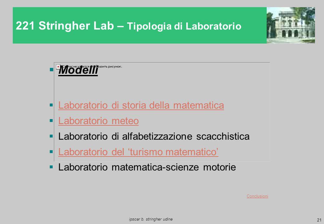 21 ipscar b. stringher udine 221 Stringher Lab – Tipologia di Laboratorio  Modelli  Laboratorio di storia della matematica Laboratorio di storia del