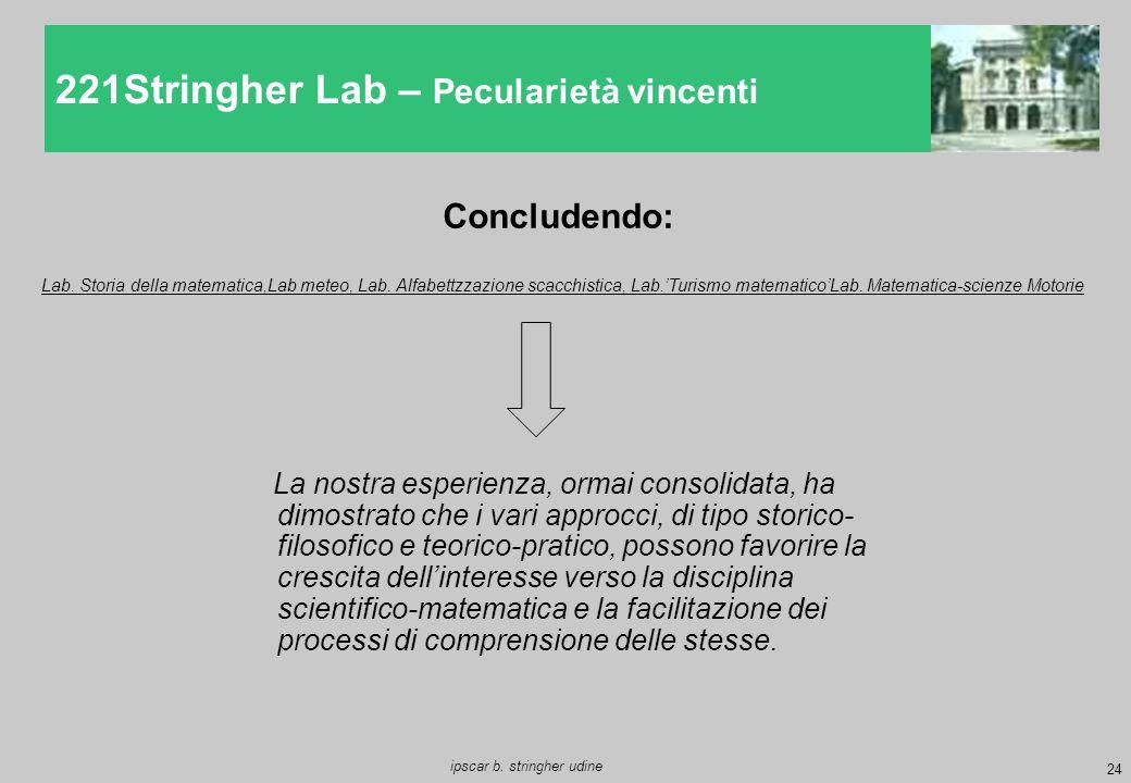 24 ipscar b. stringher udine 221Stringher Lab – Pecularietà vincenti Concludendo: La nostra esperienza, ormai consolidata, ha dimostrato che i vari ap