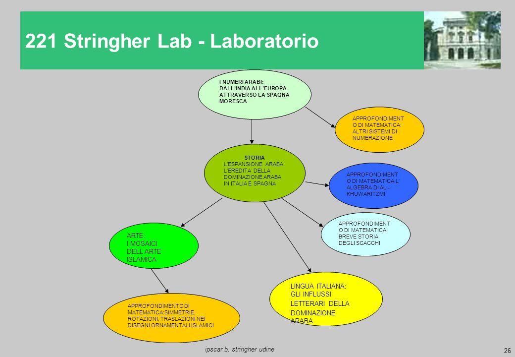 26 ipscar b. stringher udine 221 Stringher Lab - Laboratorio I NUMERI ARABI: DALL'INDIA ALL'EUROPA ATTRAVERSO LA SPAGNA MORESCA APPROFONDIMENT O DI MA