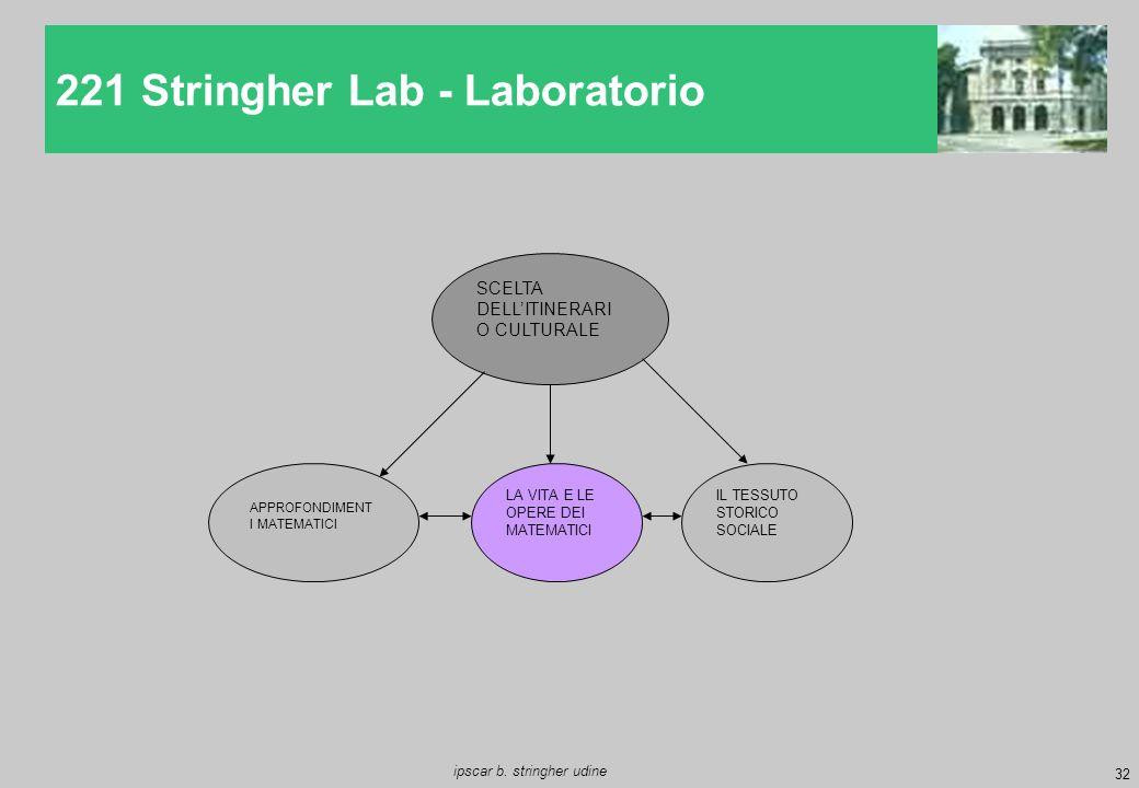 32 ipscar b. stringher udine 221 Stringher Lab - Laboratorio SCELTA DELL'ITINERARI O CULTURALE LA VITA E LE OPERE DEI MATEMATICI APPROFONDIMENT I MATE
