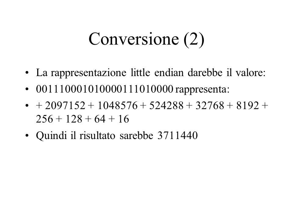 Conversione (2) La rappresentazione little endian darebbe il valore: 001110001010000111010000 rappresenta: + 2097152 + 1048576 + 524288 + 32768 + 8192 + 256 + 128 + 64 + 16 Quindi il risultato sarebbe 3711440