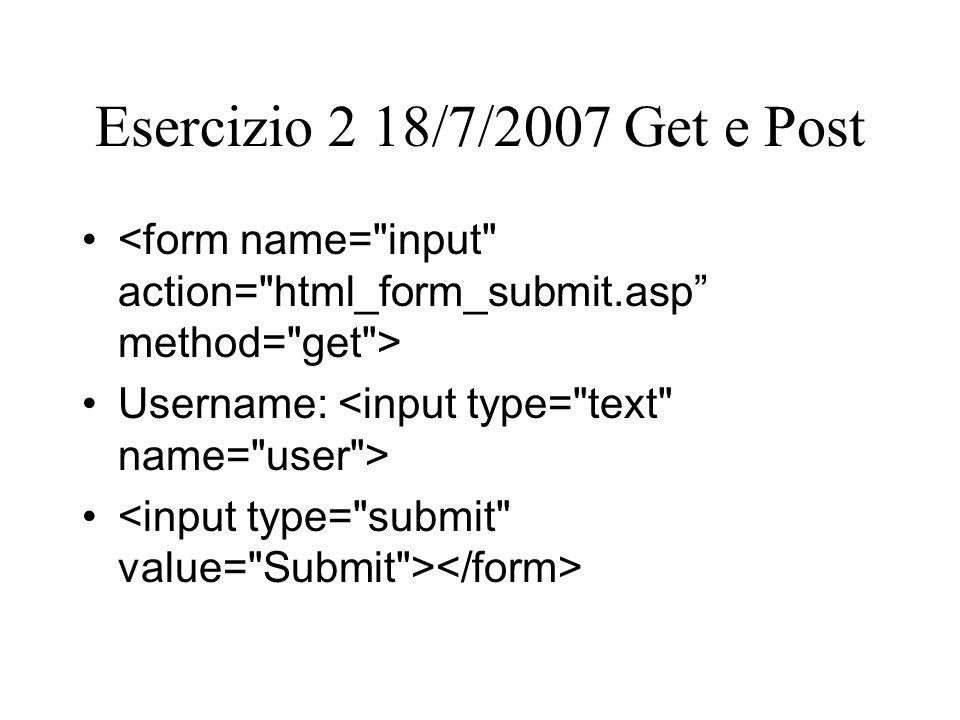 Esercizio 2 18/7/2007 Get e Post Username: