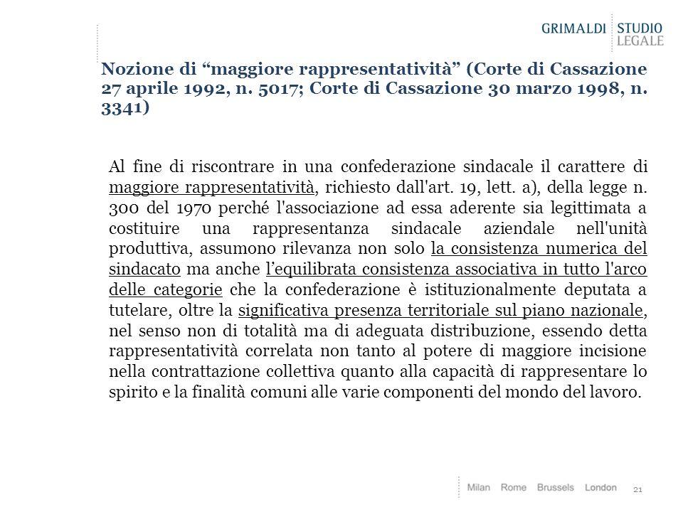 """21 Nozione di """"maggiore rappresentatività"""" (Corte di Cassazione 27 aprile 1992, n. 5017; Corte di Cassazione 30 marzo 1998, n. 3341) Al fine di riscon"""