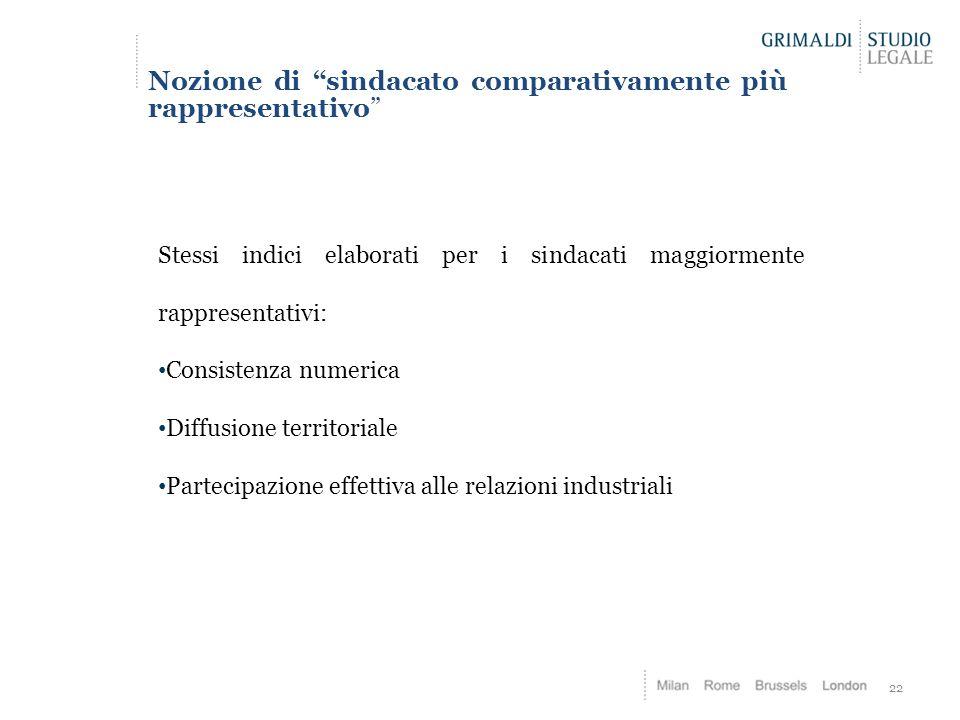 """22 Nozione di """"sindacato comparativamente più rappresentativo"""" Stessi indici elaborati per i sindacati maggiormente rappresentativi: Consistenza numer"""
