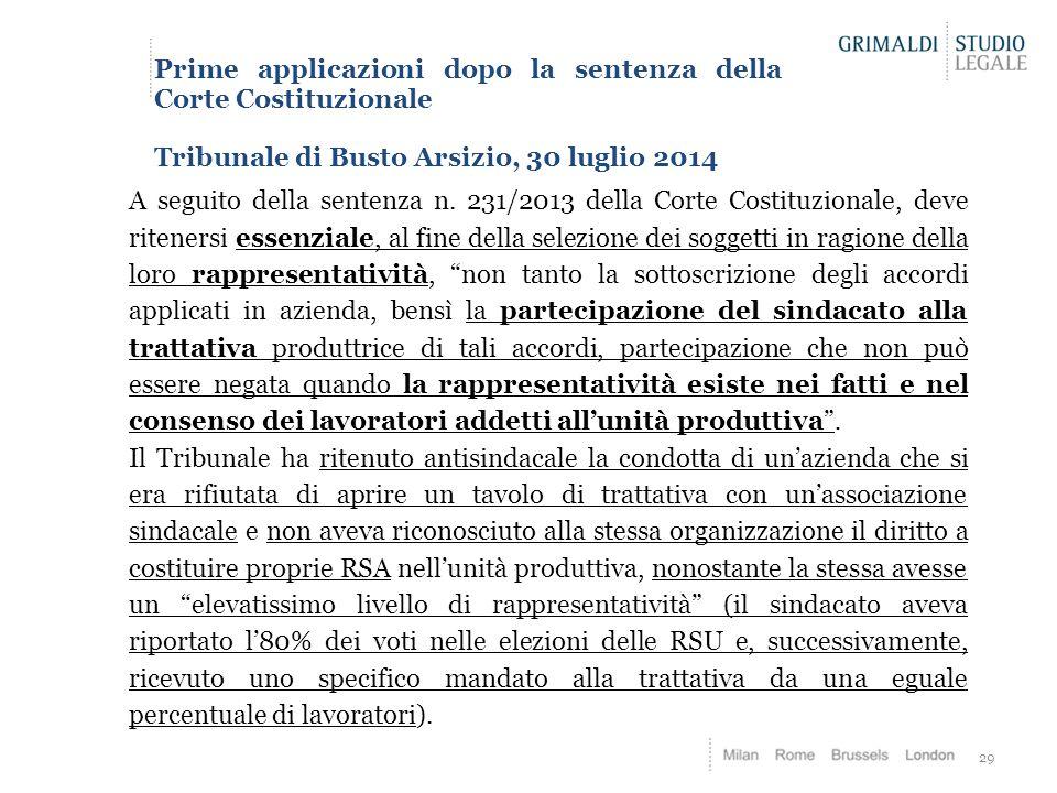 29 Prime applicazioni dopo la sentenza della Corte Costituzionale Tribunale di Busto Arsizio, 30 luglio 2014 A seguito della sentenza n. 231/2013 dell